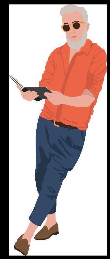 læsende mand stående