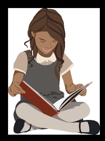 læsende pige siddende