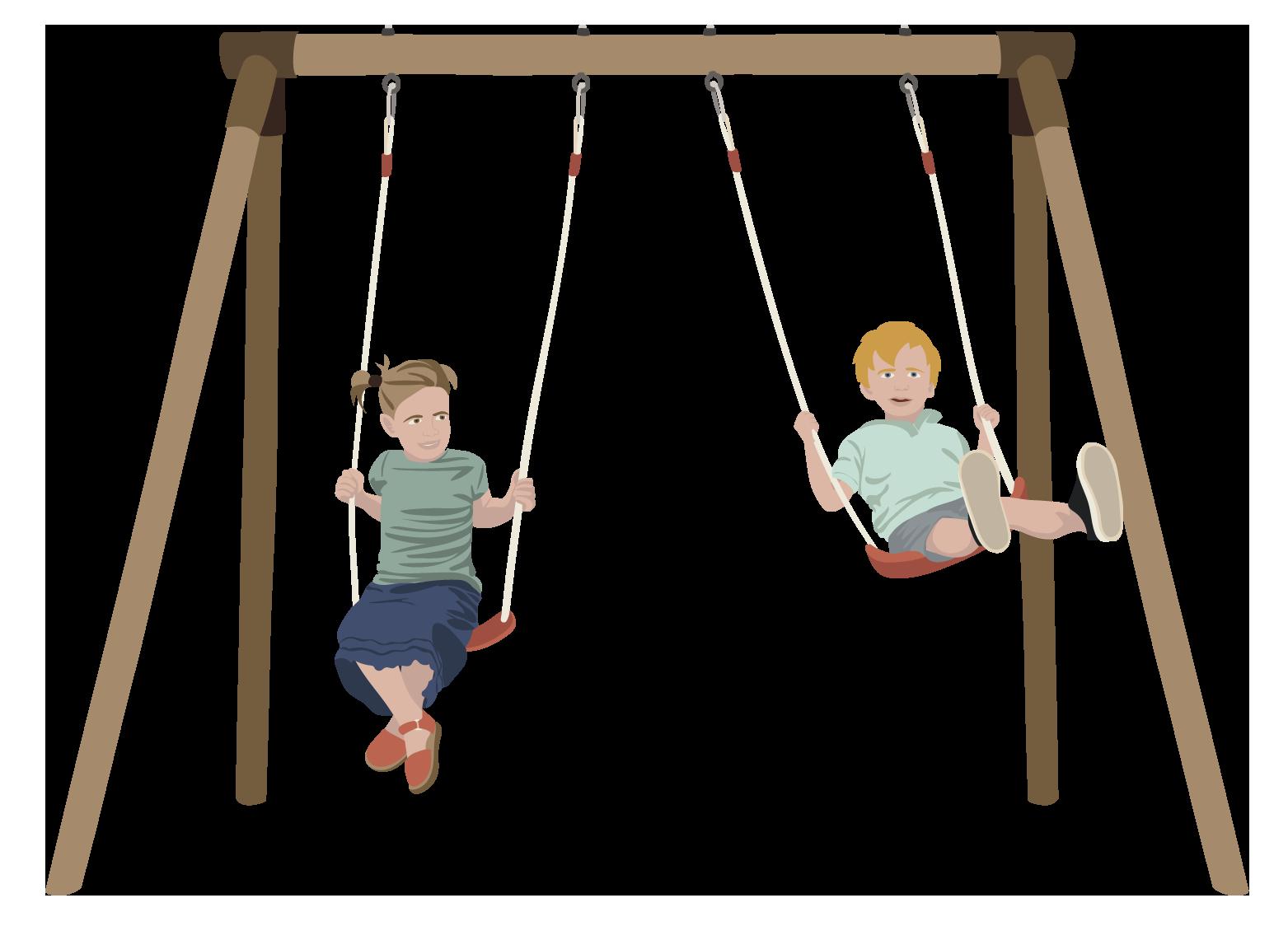 legeplads gynger to børn